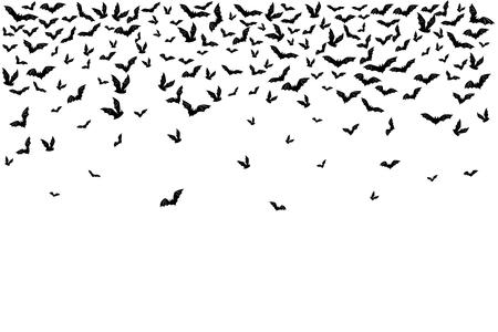 Ilustración de Halloween flying bats. Decoration element from scattered silhouettes. Top border. - Imagen libre de derechos