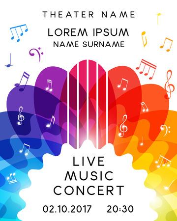 Illustration for Music concert poster design. Vector template for flyer, banner, invitation. - Royalty Free Image