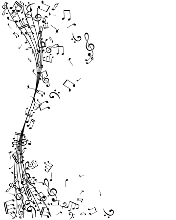 Illustration pour Notes on the vertical wavy swirl path. Music decoration element, isolated on the white background. - image libre de droit