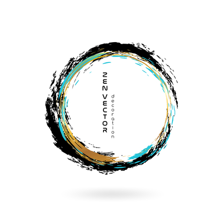 Illustration for Ink zen circle emblem. Hand drawn abstract decoration element. Black, blue and gold colors. - Royalty Free Image
