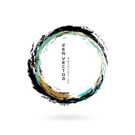 Illustration pour Ink zen circle emblem. Hand drawn abstract decoration element. Black, blue and gold colors. - image libre de droit