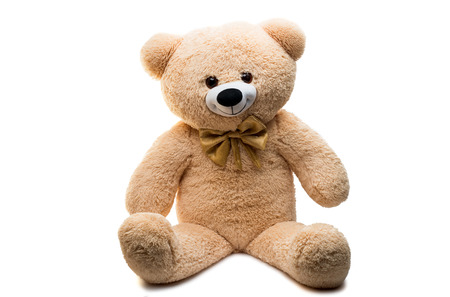 Foto de Big Bear soft toy isolated on white background - Imagen libre de derechos