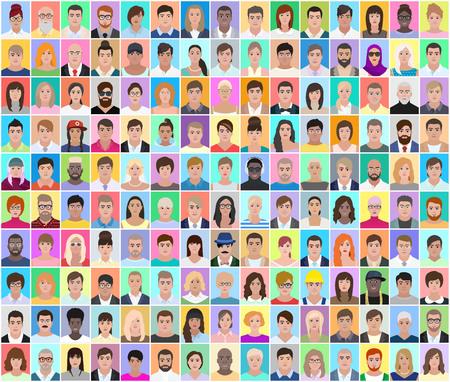 Illustration pour Portraits of different people, detailed drawing, colored collage, vector illustration - image libre de droit