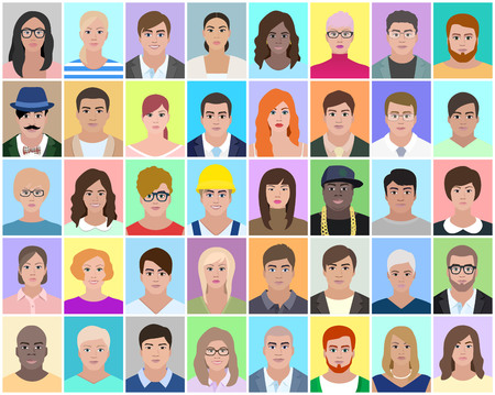 Ilustración de Different people, portrait, vector illustration - Imagen libre de derechos