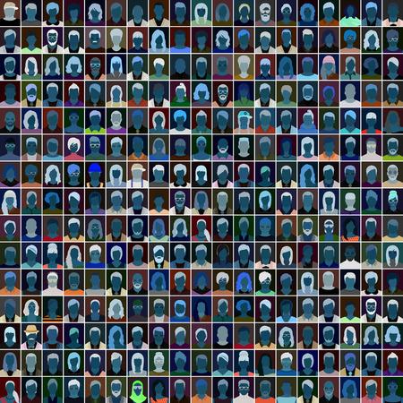 Illustration pour Night people portraits, vector illustration - image libre de droit