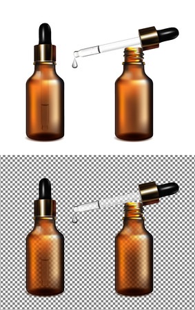 Illustration for Sets of brown glass transparent bottle with gold cap and dropper illustration. - Royalty Free Image