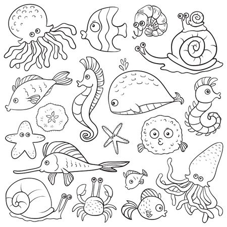 Illustration for Coloring book (sea life) - Royalty Free Image