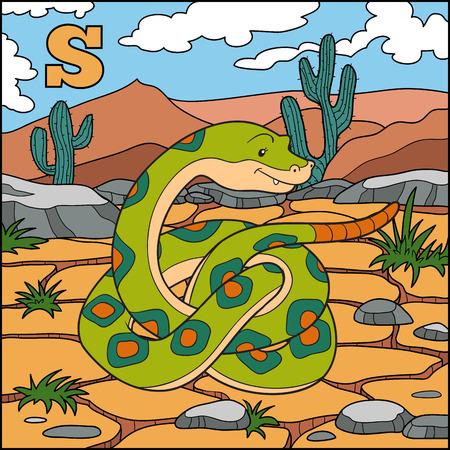 Color alphabet for children: letter S (snake)