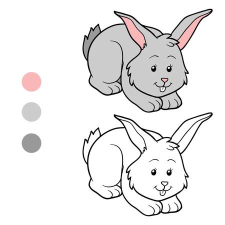 Illustration pour Game for children: Coloring book (rabbit) - image libre de droit
