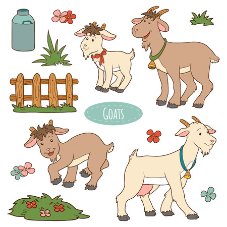 Illustration for Set of cute farm animals and objects, vector family goats - Royalty Free Image
