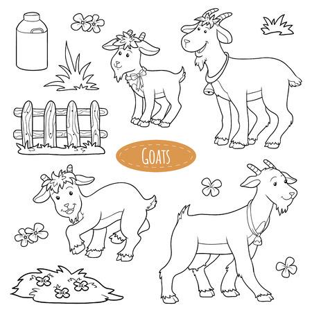 Ilustración de Set of cute farm animals and objects, vector family goats - Imagen libre de derechos
