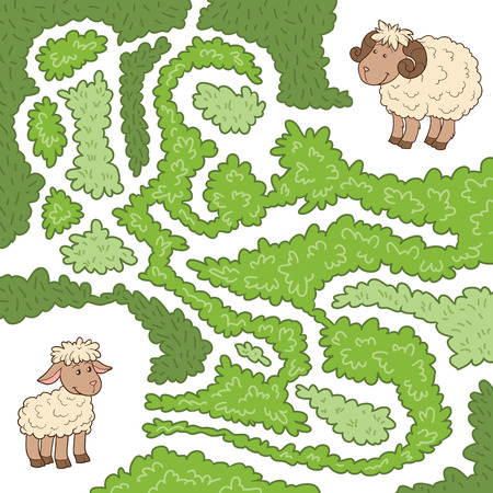Maze game for children: Help the sheep to find the little lamb