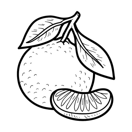 Ilustración de Coloring book for children: fruits and vegetables (mandarin) - Imagen libre de derechos