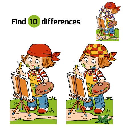 Foto de Game for children: Find differences (Girl artist draws on nature, open air) - Imagen libre de derechos