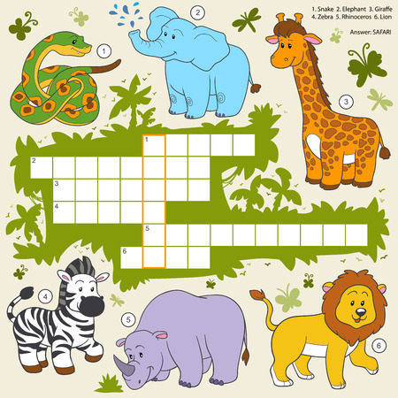 Illustration pour Vector color crossword, education game for children about safari animals - image libre de droit