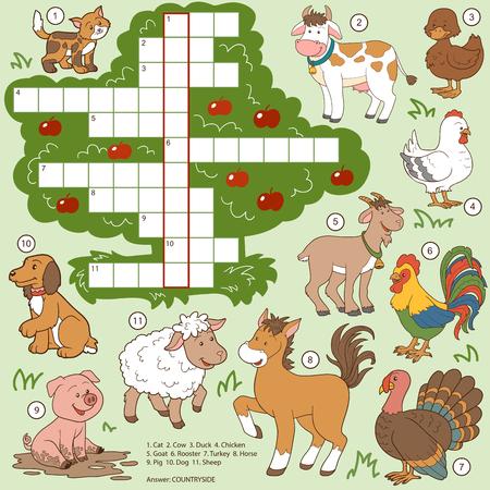 Ilustración de Vector color crossword, education game for children about farm animals - Imagen libre de derechos