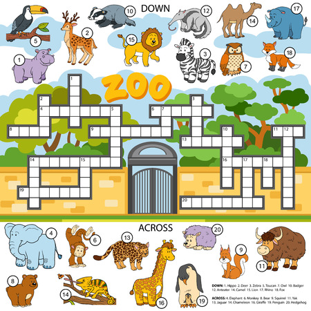 Ilustración de Vector color crossword, education game for children about animals - Imagen libre de derechos