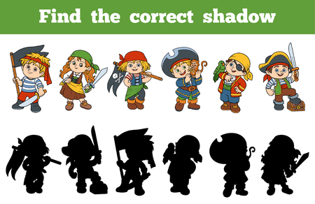 Illustration for Find the correct shadow, education game for children (set of characters pirates) - Royalty Free Image