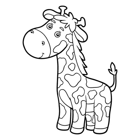 Illustration pour Coloring book for children (giraffe) - image libre de droit