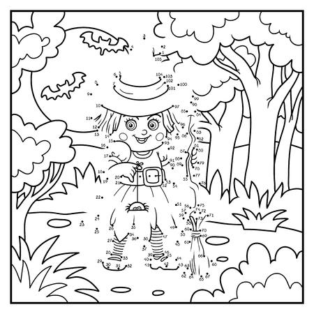 Ilustración de Numbers game, education dot to dot game for children, Witch - Imagen libre de derechos