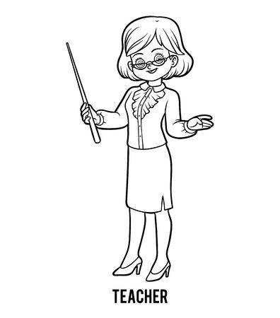 Ilustración de Coloring book for children, Teacher - Imagen libre de derechos