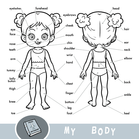 Illustration pour Cartoon visual dictionary for children about the human body. My body parts for a girl.  - image libre de droit