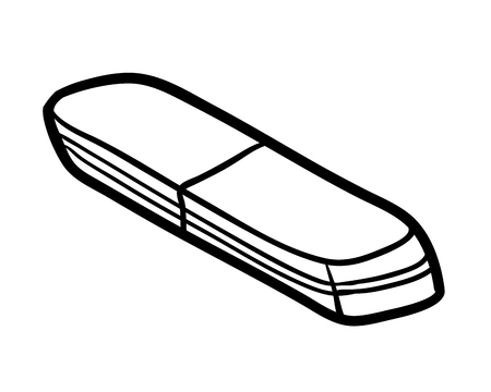 Illustration for Coloring book for children, Eraser isolated on  plain background. - Royalty Free Image