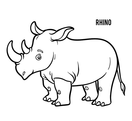 Illustration pour Coloring book for children, Rhino - image libre de droit