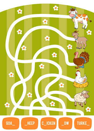 Illustration pour Maze game for children. Find the way from the picture to its title and fill the missing letters. Goat, Cow, Chicken, Turkey and Sheep - image libre de droit
