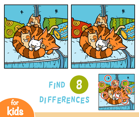 Illustrazione per Find differences education game for children, Four cats - Immagini Royalty Free