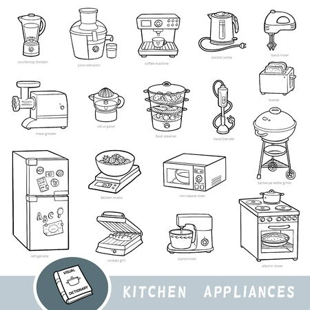 Illustration pour Black and white set of kitchen appliances, collection of vector items with names in English. Cartoon visual dictionary for kids - image libre de droit