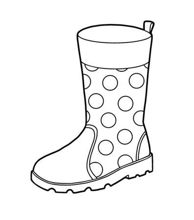 Ilustración de Coloring book for children, Rubber boots - Imagen libre de derechos