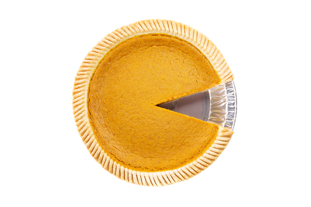Foto de Top View - Fresh delicious pumpkin pie with piece missing on white background ( Isolated pie dessert pumpkin, sweet potato) - Imagen libre de derechos