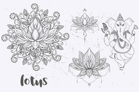 Illustration for Mandala set and other elements. Vector. Mandala tattoo. , boho style, kaleidoscope, medallion, yoga, india, Arabic. circular pattern, sketch for tattoo - Royalty Free Image