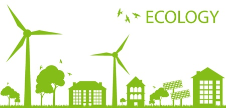 Illustration pour Green Eco city ecology background concept - image libre de droit