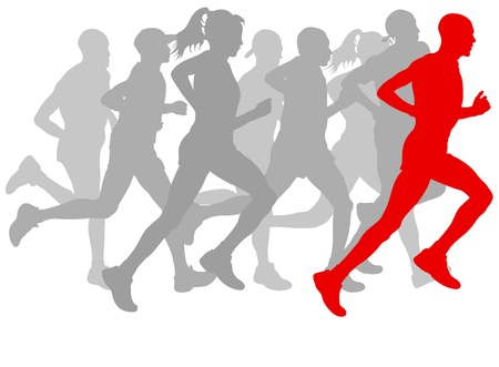 Winner finish vector background and group of runners for poster