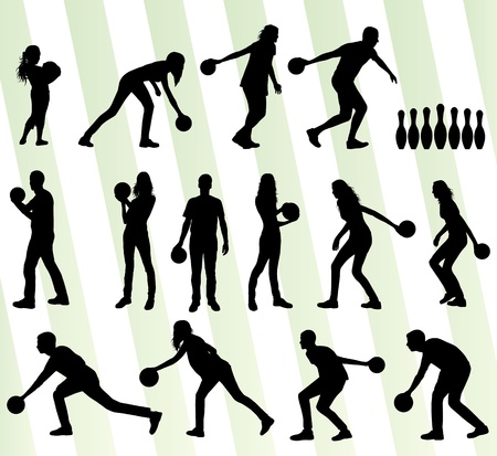 Bowling player silhouettes set background