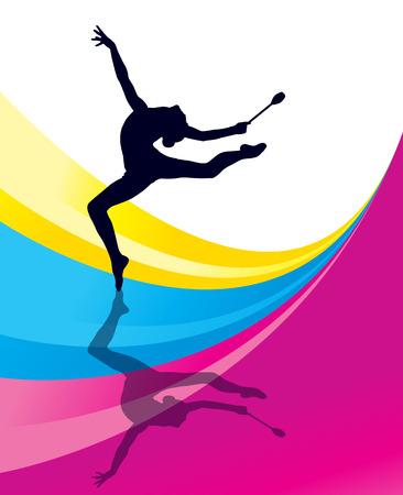 Ilustración de Rhythmic Gymnastics woman with clubs vector background concept - Imagen libre de derechos