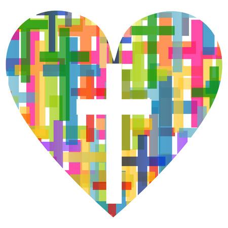 Ilustración de Christianity religion cross mosaic heart concept  - Imagen libre de derechos