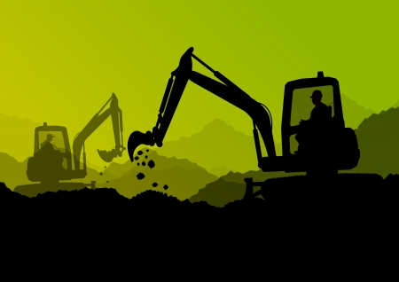 Illustration pour Excavator bulldozer loaders, tractors and workers digging at industrial construction site  - image libre de droit