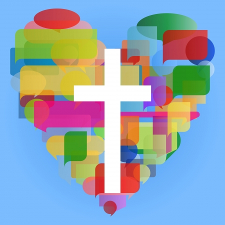 Ilustración de Christianity religion cross mosaic heart concept abstract background - Imagen libre de derechos