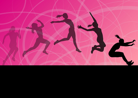 Illustration for Woman girl triple long jump flying active sport athletic silhouettes illustration collection background vector - Royalty Free Image