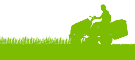 Illustration pour Man with lawn mower tractor cutting grass in field landscape abstract background illustration - image libre de droit