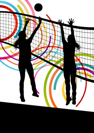 Illustration pour Active young women volleyball player sport silhouettes in abstract color background illustration vector - image libre de droit