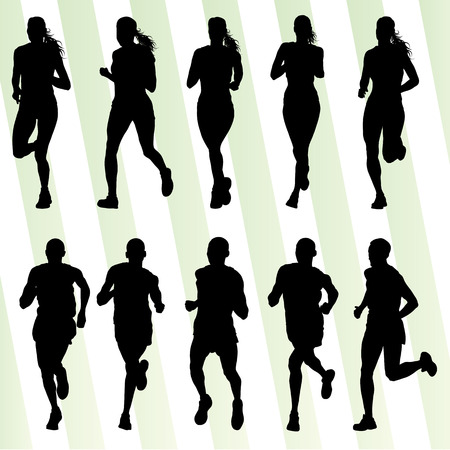Illustrazione per Marathon runners detailed active illustration silhouettes collection background vector set - Immagini Royalty Free