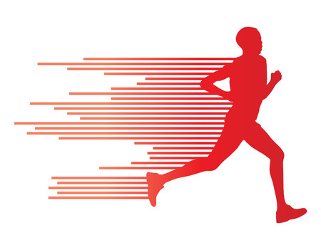 Ilustración de Man runner silhouette vector background template concept made of stripes - Imagen libre de derechos