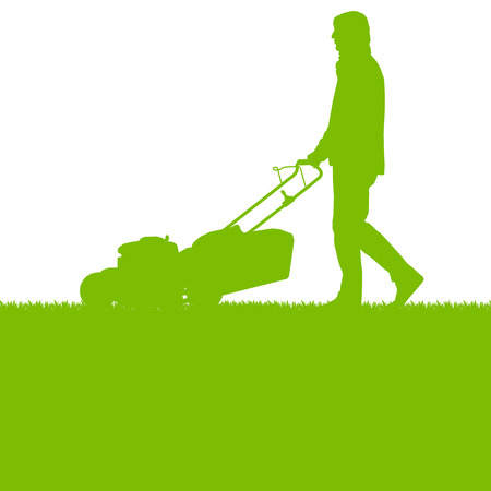Illustration pour Man with lawn mover cutting grass vector background ecology concept for poster - image libre de droit