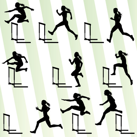 Foto de Athlete woman hurdling in track and field vector background set concept - Imagen libre de derechos