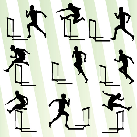 Foto per Athlete man hurdling in track and field vector background set concept - Immagine Royalty Free