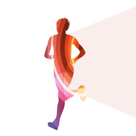 Ilustración de Woman runner sprinter silhouette illustration vector background colorful concept made of transparent curved shapes - Imagen libre de derechos